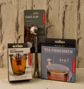 Café clip €6.95, Monkey tea infuser €10, Tea fisherman €14.95