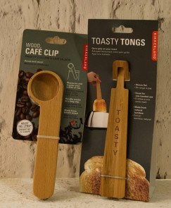 Wood cafe clip €6.95. Toasty tongs €8.95