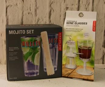 Mojito set €15, Portable wine glasses €9.95