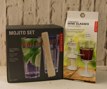 Mojito set €15, Portable wine glasses €9.95